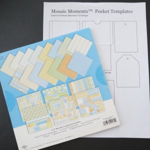 """Our FREE Download for pockets to fit into the grids and an 8"""" x 8"""" patterned baby paper pack with all kinds of extras to use to embellish your pages."""