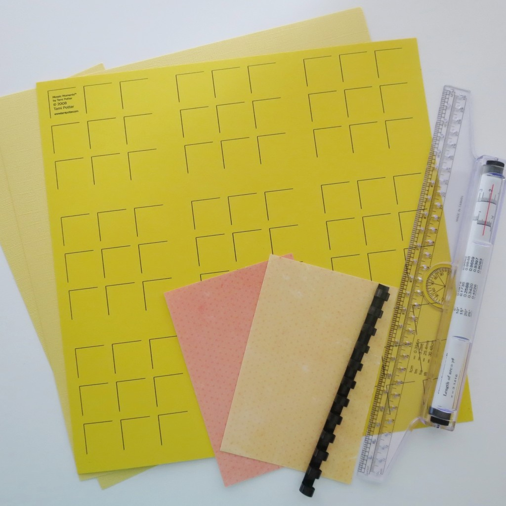 Getting Started: Sunshine RTC Grid Paper, Cardstock, patterned paper, rolling ruler, binding spine