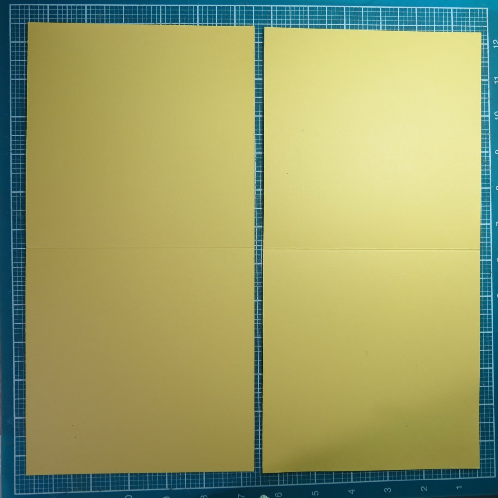 "12""x 12"" cardstock cut in half and then each section scored and folded in half."