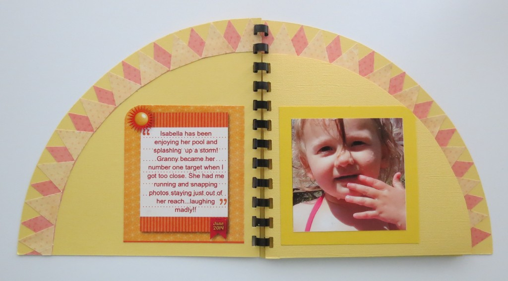 Page one of Mini Album. Inside cover with journal block and one photo.