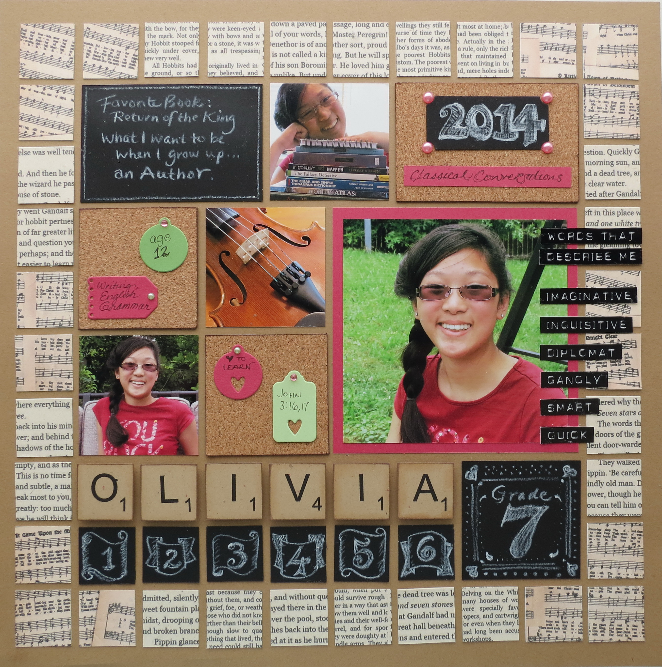 Scrapbook ideas school - Back To School Layout For Olivia