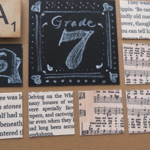 Trends: Chalkboards and paper tiles from scanned book and music.