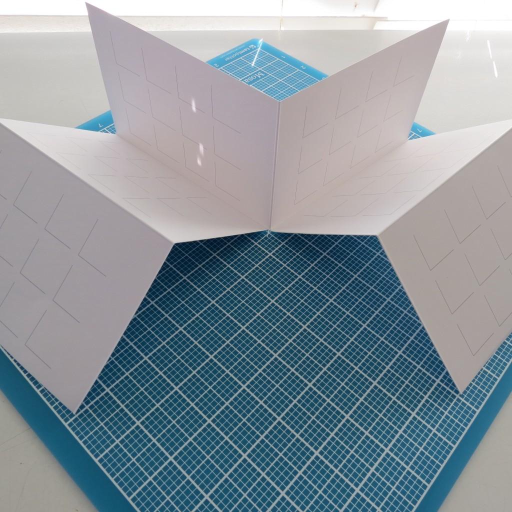 two sections wide cut, burnish folded edges for crisp fold