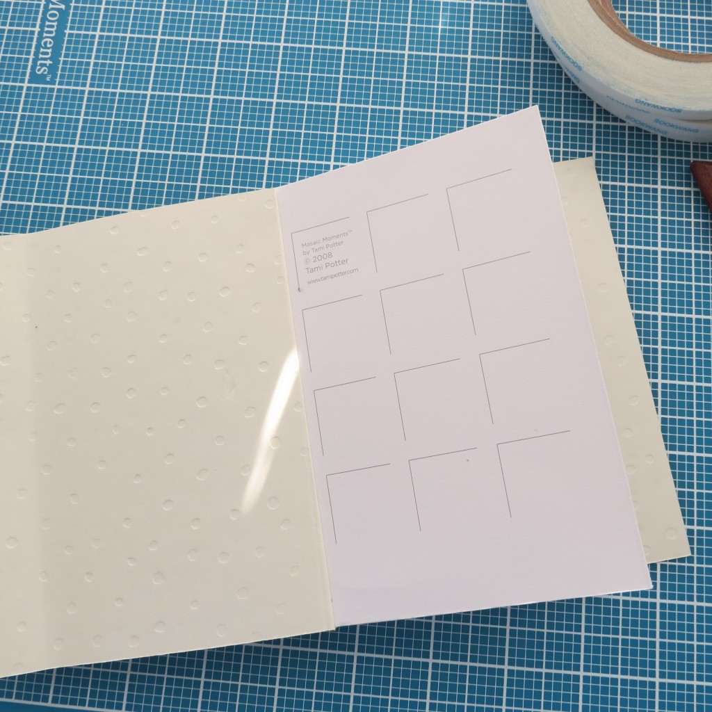 """use 1/4"""" tape to adhere cover to the inside page front"""