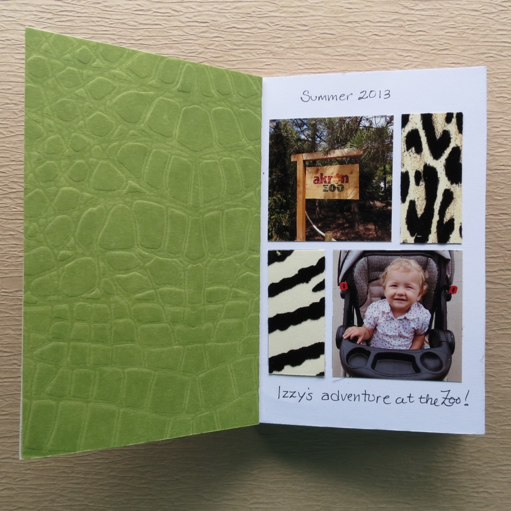 Opening page with green patterned paper lining the the cover adds color and strength to booklet.
