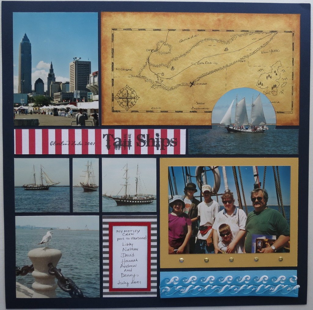 "Scrapbook Pages Inspired by Treasure Island: fonts, stripes, map, ""X"" marks the spot, ocean waves, glitter, nautical directions, gold brads, colors: red, white, navy, caramel."