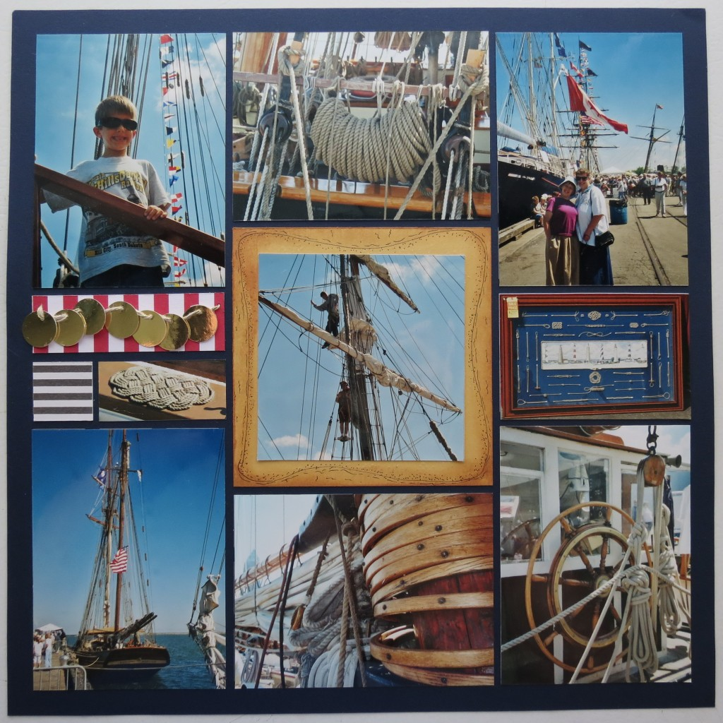 Scrapbook Pages Inspired by Treasure Island: gold doubloons, striped patterns.