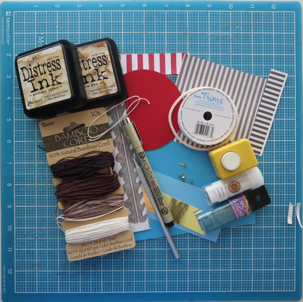 materials used to create this Scrapbook page Inspired by Treasure Island.