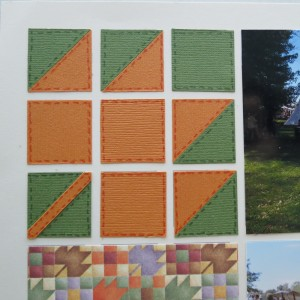 Cardstock squares and photo corner tiles to create traditional 9-patch Maple Leaf Pattern