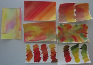 samples of watercolor sheets. First sheet is traditional water colors the remaining six are Twinkling H2O's watercolors.