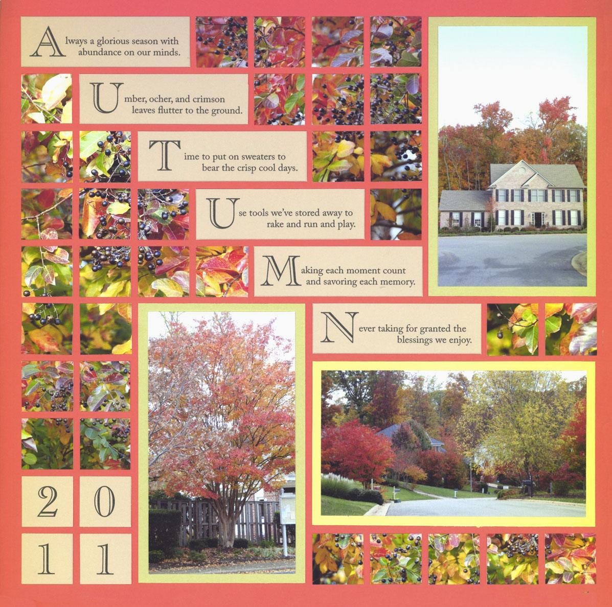 Juliet scrapbook ideas - Autumn Scrapbook Layout With Step Down Journal Blocks