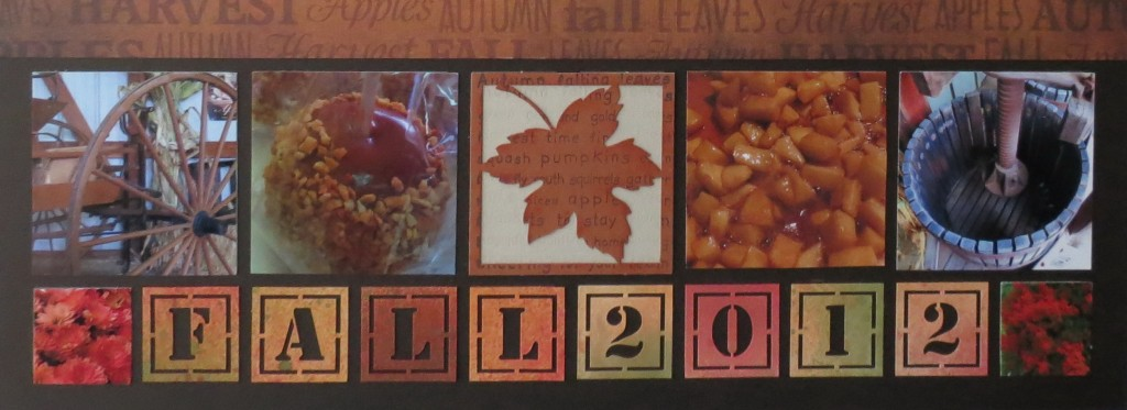 Fall Flourishes #3 Cornerstones   These word and date cornerstone tiles have been misted with Tattered Angels mists for festive fall colors.