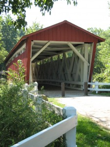 Fall Photo Tips: Include photos from three views: Nearby. A covered bridge is always interesting to include in your layout.
