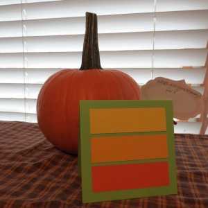 Thanksgiving Place Cards on the backside of each tent style card adding paper tiles for blessings.