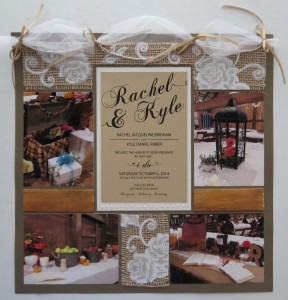 Wedding Scrapbook Tips. Wedding Invitation incorporated into the layout as a title.