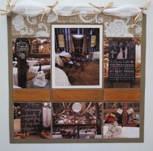 Wedding Scrapbook Tips. Wood tiles to represent the wood beams of the restored Gish Barn.