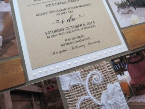 Wedding Scrapbook Tips. Beads of Viva Pearl Pen in Cream edge the bottom of the invitation block.