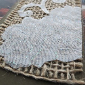 Wedding Scrapbook Tips. Lace adhered to burlap. See the glimmer?