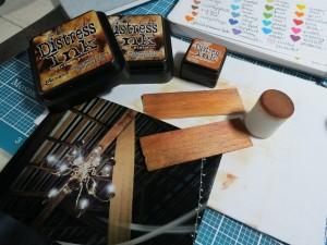 Wedding Scrapbook Tips. Inking the wood tiles, trying for a match to the beams and rafters of the barn.