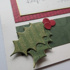 A Dickens' Christmas: Music stamped leaves keep the Christmas Carol theme.