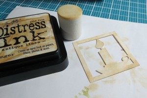 A Dickens' Christmas: cornerstone tile of a candle inked to add depth.