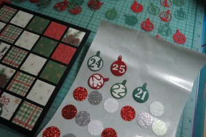 Countdown to Christmas: Xyron backed circles for reverse side of numbers.