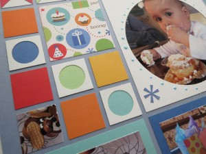 Birthday Scrapbook Pages: adding pearls and stickers to the Circle Tile.