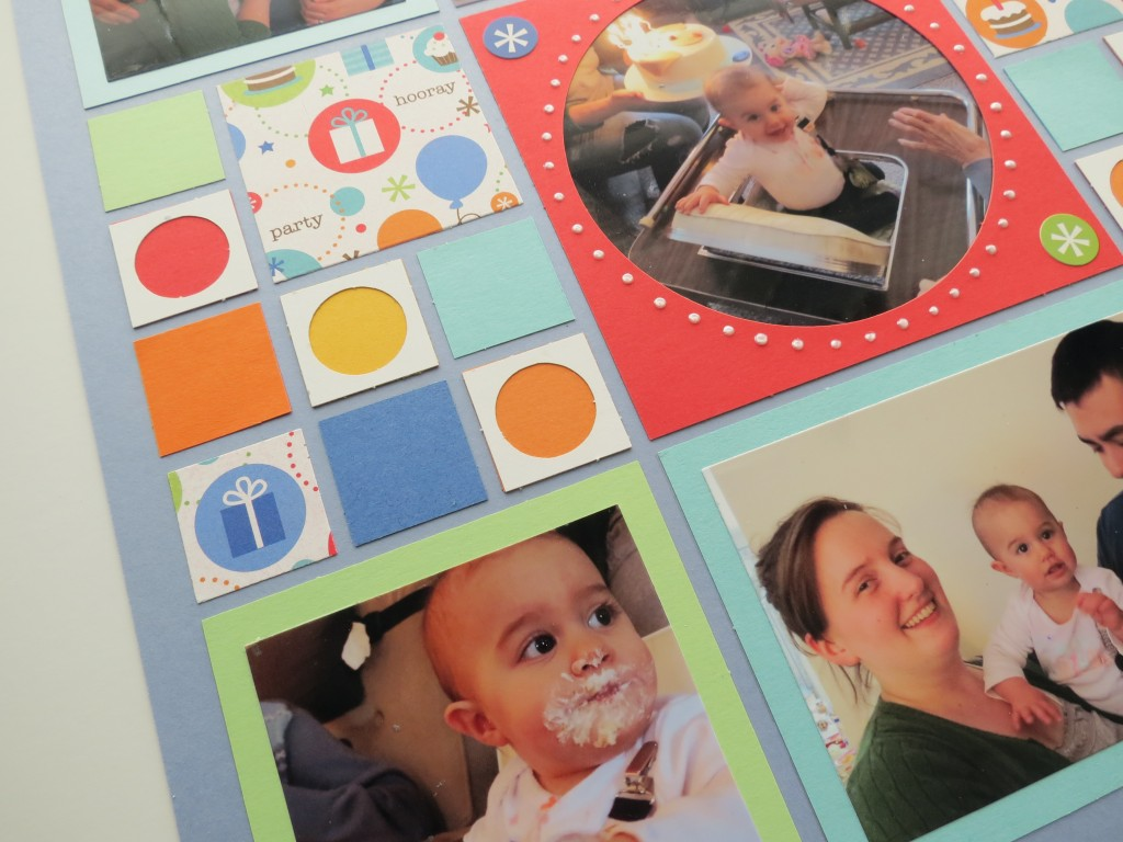 Birthday Scrapbook Pages: small Circle Tiles, Paper Tiles and Inspiration paper tile. Matted photos and fussy cut tiles.