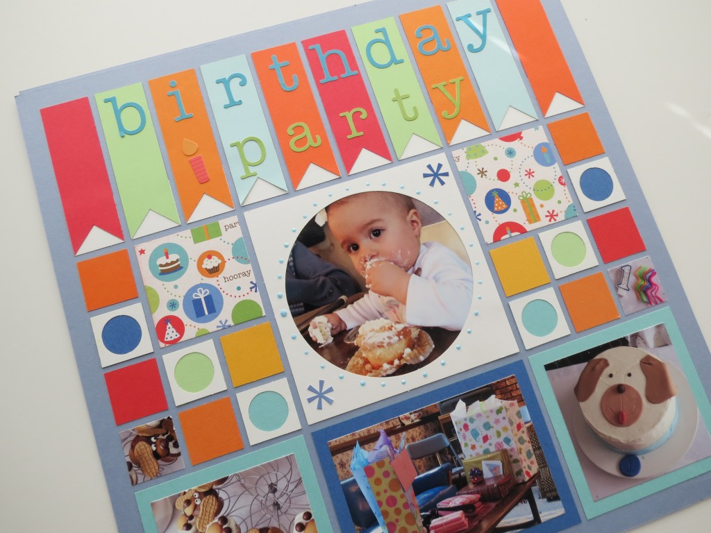 Birthday Scrapbooking Pages: Banner Tiles and stickers for Title