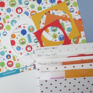 Birthday Scrapbook Pages:  match your embellishments to your grid and paper.