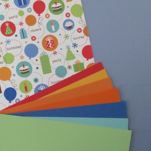 Birthday Scrapbook Pages: paper tiles in colors to match.