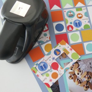 Birthday Scrapbook Pages: fussy cut squares to accent your pages.