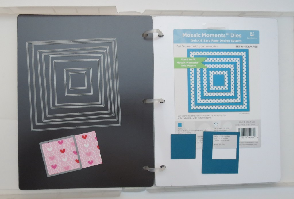 Nested Squares Die Set stored in an EZ Binder on magnetic sheets from Crafter's Companion