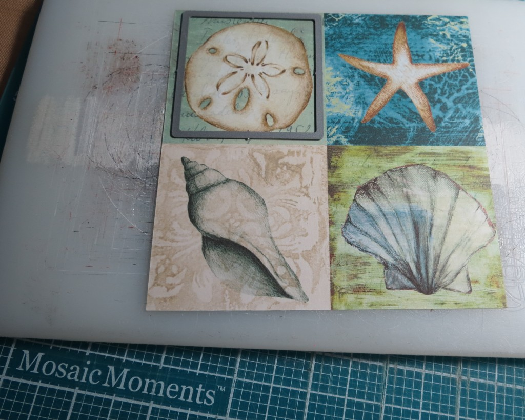 Mosaic Moments Die Sets using Set A Square to cut embellishment tile