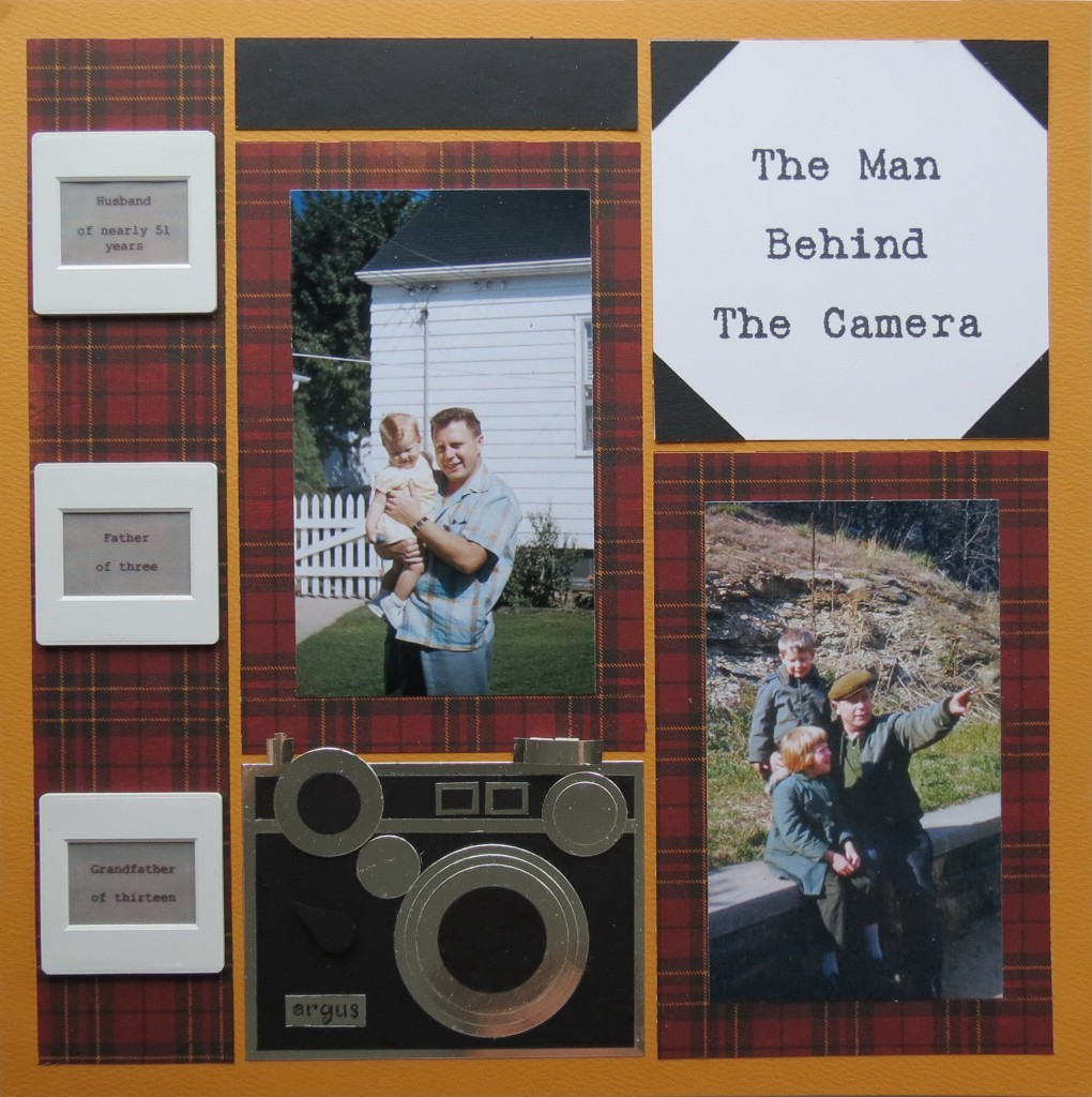 Random Photos with a Masculine Theme. Title block with corner squares.