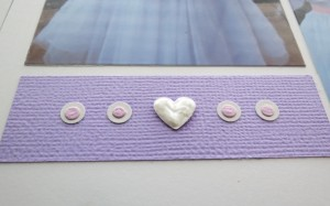 Embellishing Your Scrapbook Pages: Liquid Pearls added to punched heart, layered dots to fill tile for added  interest.