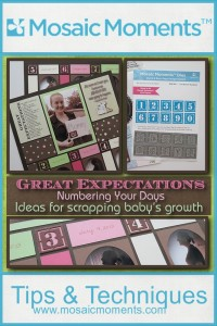 Great Exectations: Numbering Your  Days ideas for scrapping your baby's growth! Featuring Mosaic Moments Grid Papers, Dies, Paper Tiles, Banner Tiles and Hybrid Scrapbooking.
