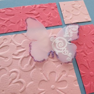 Butterfiles and Balance Vellum Butterfly edged in random glitter accents