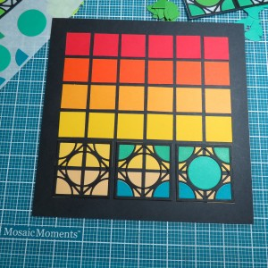 Cornerstone Dies: Encircle Dies Arranging the cornerstones on the grid layering all the pieces.