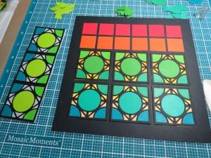 Cornerstone Dies: Encircle Die the pattern progressing as colors are added.