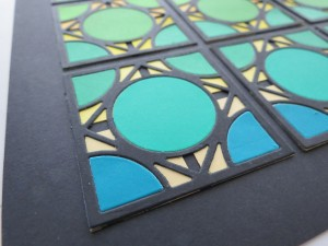 "Cornerstone Dies: Encircle Die notice the layering . Using 1"" tiles on the base divides the pattern further for more mosaic style."