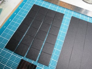 "Basketweave: scrapbooking for the guys in your life. Cut your 1"" tiles using the die. Cut strips of  ' black cardstock."