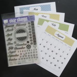 8x8 page designs calendar stamp sets from IO by Tami Potter