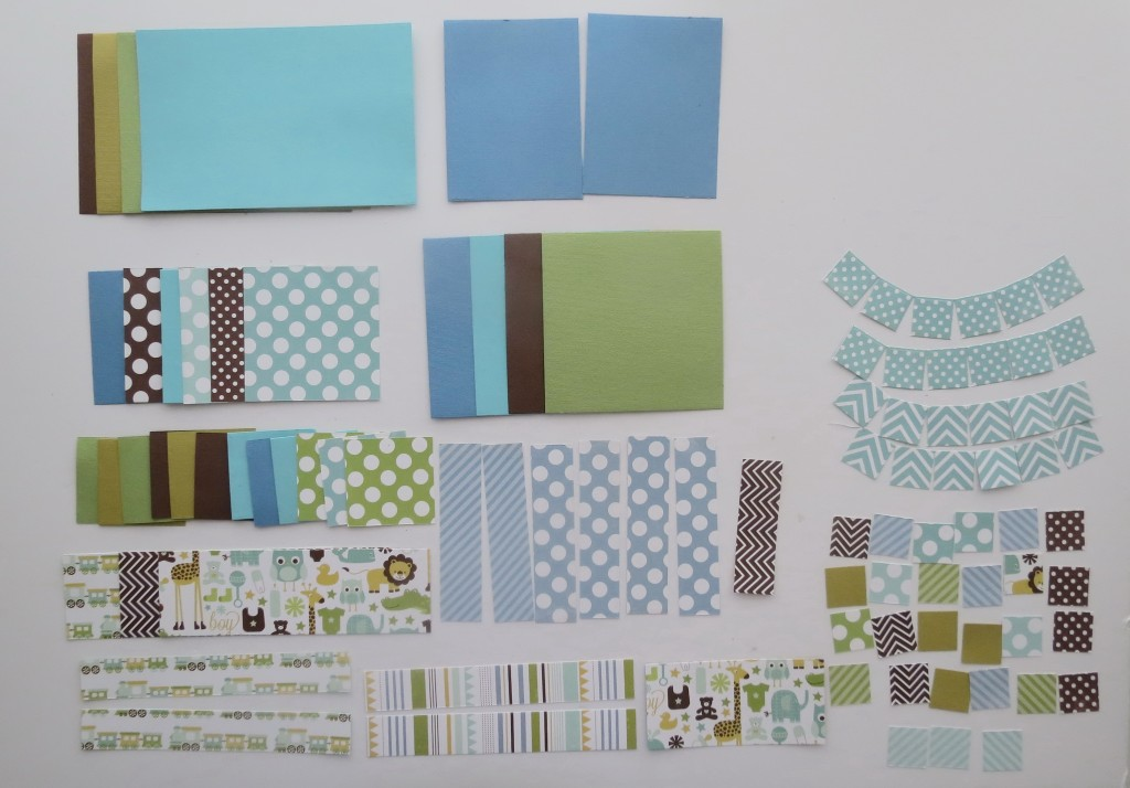 8x8 Page Designs all the pieces cut with the Die Sets and ready to assemble