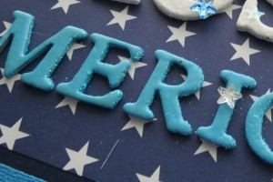 Patriotic pages blue letters are finished with glittered edge