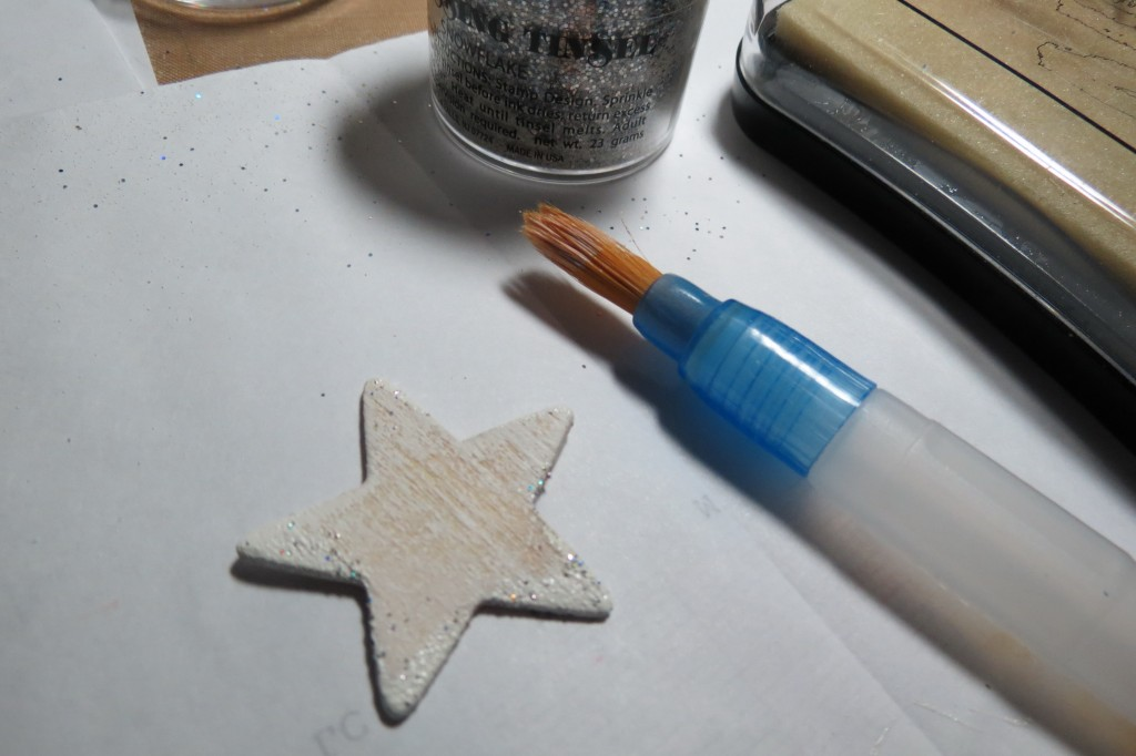 Patriotic Pages dry brushed wooden star with tinsel embossed touches
