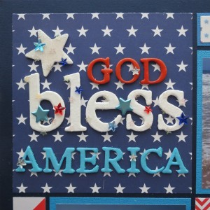 Patriotic Pages chipboard letters embossed with clear embossing powder and embellished