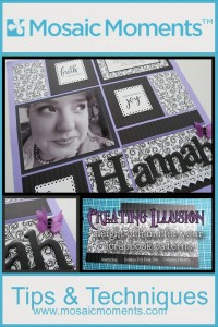 Creating Illusion with Column Pattern Scallop Dot Mat Die and journal cards
