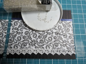 Creating Illusion attach lace to bottom edge, add crystal seed beads