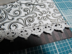 Creating Illusion using invisible thread attach crystal seed beads randomly at lace edge